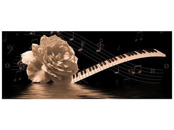 Černobílý obraz růže a klavíru (F001875F10040)