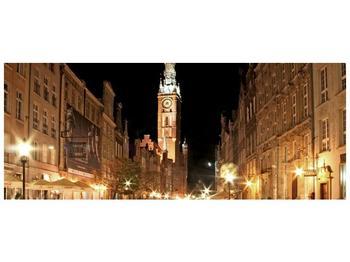 Obraz noční ulice s věží (F002338F10040)