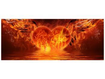 Obraz hořícího srdce s křídly  (F002884F10040)