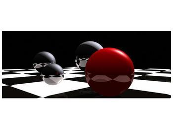 Obraz čtyř koulí na šachovnici - červená (F004098F10040)