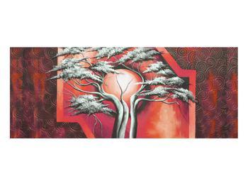 Tablou oriental roșu cu pom și soare (K014068K10040)