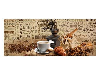 Obraz kávy, mlýnku a croissantů (K014713K10040)