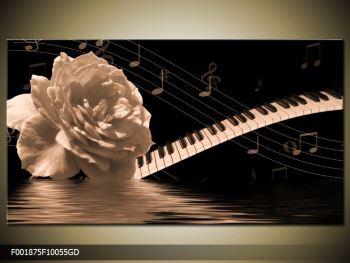 Černobílý obraz růže a klavíru (F001875F10055GD)