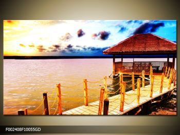 Obraz dřevěné přístavby na vodě (F002408F10055GD)