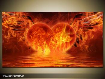 Obraz hořícího srdce s křídly  (F002884F10055GD)