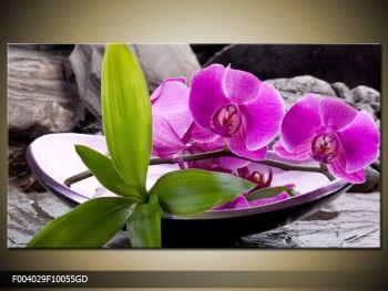 Obraz fialových orchidejí v míse (F004029F10055GD)