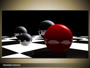 Obraz čtyř koulí na šachovnici - červená (F004098F10055GD)