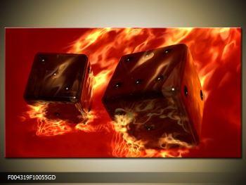 Moderní obraz hořících herních kostek (F004319F10055GD)