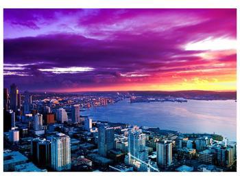 Obraz krásného přístavu s barevnou oblohou (F002468F10070)