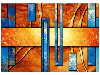 Obraz modrých obdélníků na oranžovém podkladě  (F003532F10070)