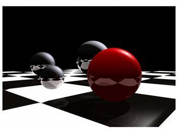 Obraz čtyř koulí na šachovnici - červená (F004098F10070)