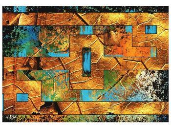 Moderní hnědo modrý obraz (F004146F10070)