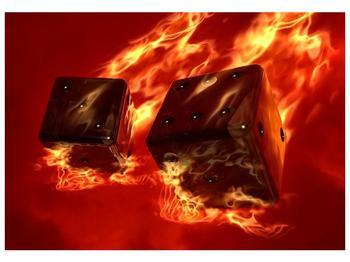 Moderní obraz hořících herních kostek (F004319F10070)