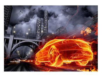 Tablou cu mașina arzând (K011167K10070)