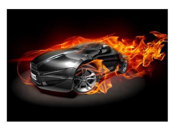 Tablou cu mașina arzând (K011174K10070)
