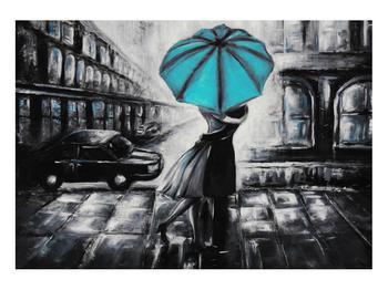 Obraz zamilovaného páru pod deštníkem (K012472K10070)