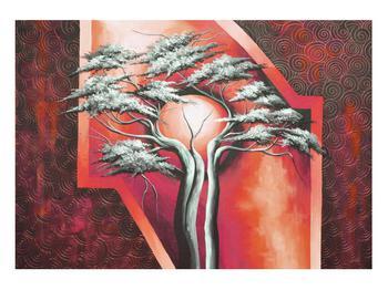 Tablou oriental roșu cu pom și soare (K014068K10070)