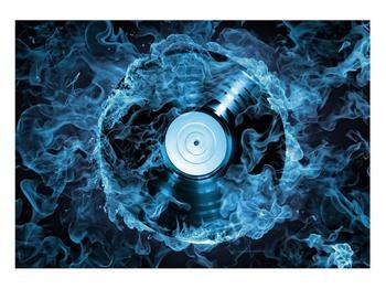 Tablou cu placă de gramofon în foc albastru (K014442K10070)