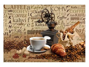 Obraz kávy, mlýnku a croissantů (K014713K10070)