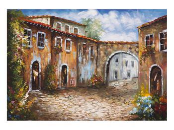 Obraz malované středomořské uličky (K014855K10070)