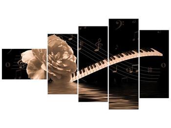 Černobílý obraz růže a klavíru (F001875F11060)