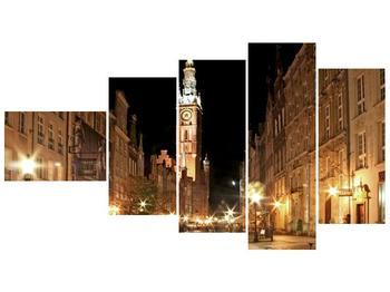 Obraz noční ulice s věží (F002338F11060)