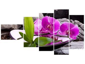 Obraz fialových orchidejí v míse (F004029F11060)