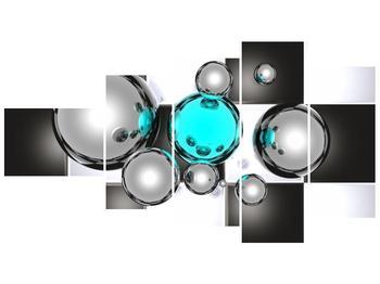 Obraz mnoha koulí na šachovnici - tyrkysová  (F004095F11060)