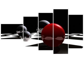 Obraz čtyř koulí na šachovnici - červená (F004098F11060)
