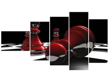 Obraz červených pěšců na šachovnici (F004102F11060)