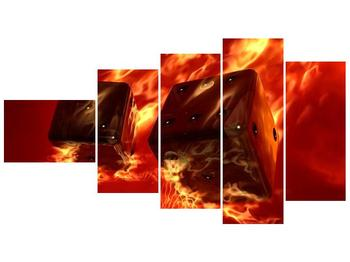 Moderní obraz hořících herních kostek (F004319F11060)