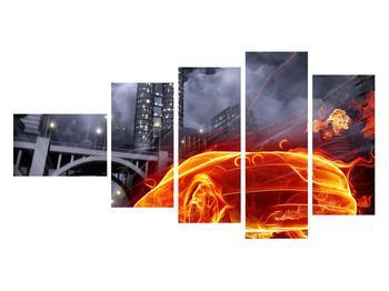 Tablou cu mașina arzând (K011167K11060)