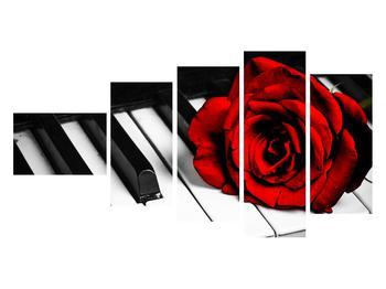 Zongora és egy rózsa képe (K011229K11060)