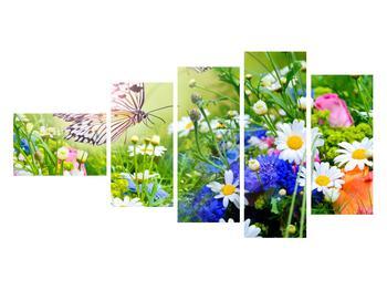 Obraz letných kvetov s motýľom (K012220K11060)