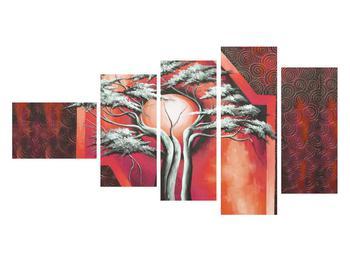 Tablou oriental roșu cu pom și soare (K014068K11060)
