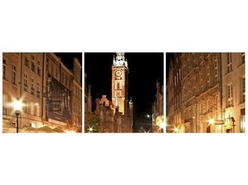 Obraz noční ulice s věží (F002338F12040)