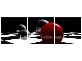 Obraz čtyř koulí na šachovnici - červená (F004098F12040)