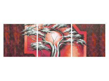 Tablou oriental roșu cu pom și soare (K014068K12040)