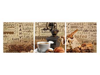 Obraz kávy, mlýnku a croissantů (K014713K12040)