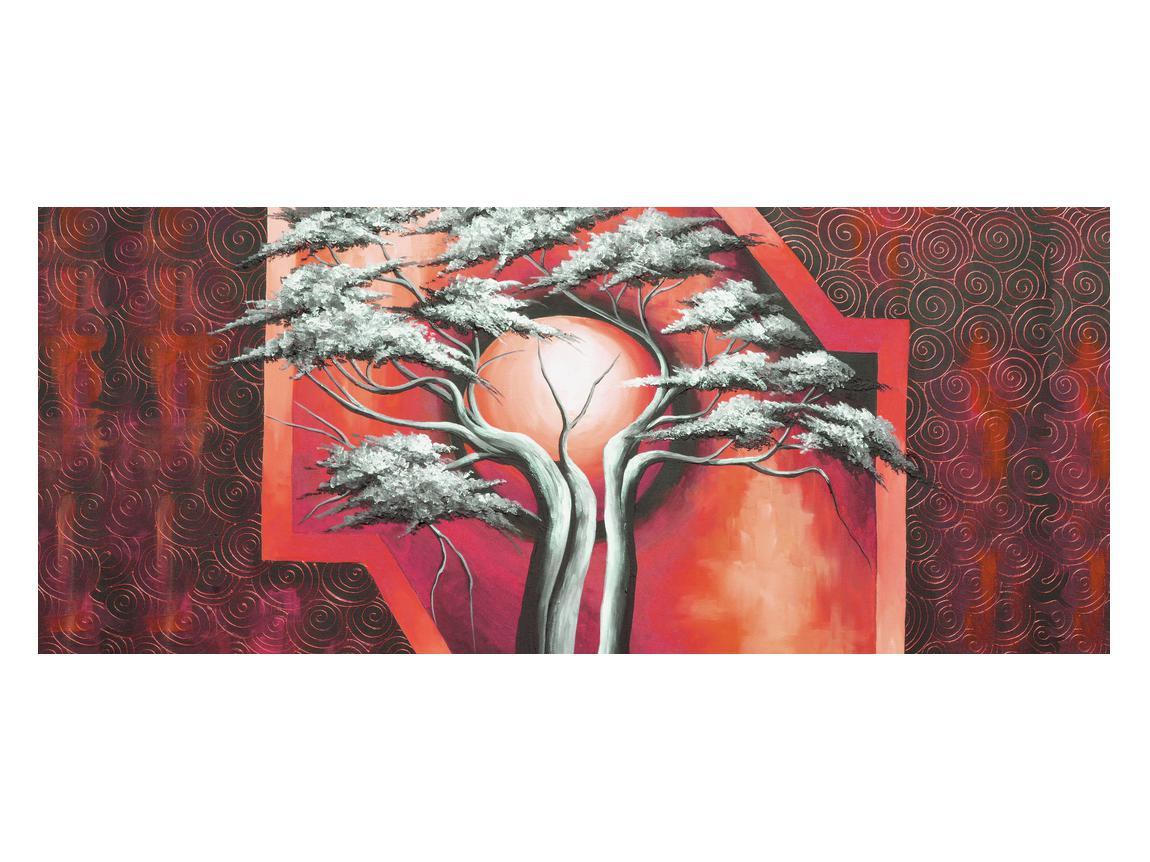 Tablou oriental roșu cu pom și soare (K014068K12050)