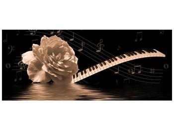 Černobílý obraz růže a klavíru (F001875F12050)