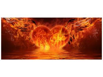 Obraz hořícího srdce s křídly  (F002884F12050)