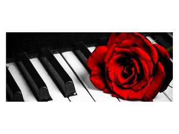 Zongora és egy rózsa képe (K011229K12050)