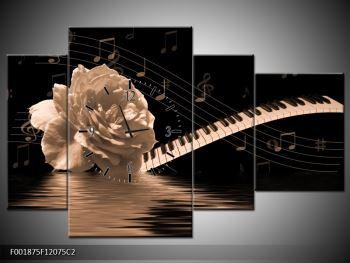 Černobílý obraz růže a klavíru (F001875F12075C2)
