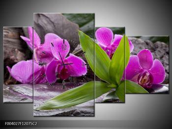 Obraz fialových orchidejí s listím (F004027F12075C2)