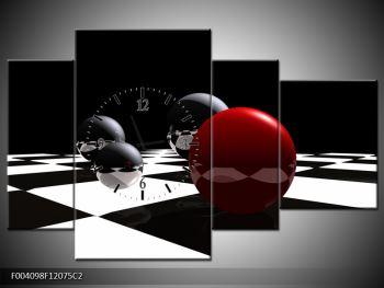 Obraz čtyř koulí na šachovnici - červená (F004098F12075C2)
