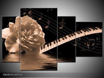 Černobílý obraz růže a klavíru (F001875F12075C4)