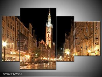 Obraz noční ulice s věží (F002338F12075C4)