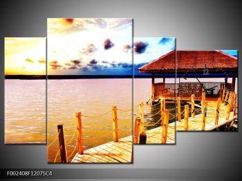 Obraz dřevěné přístavby na vodě (F002408F12075C4)