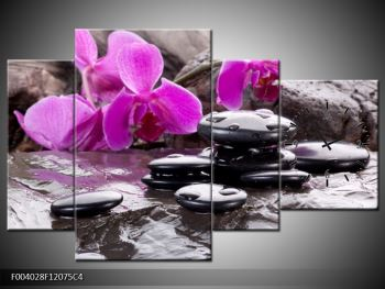 Obraz fialových orchidejí s lávovými kameny (F004028F12075C4)